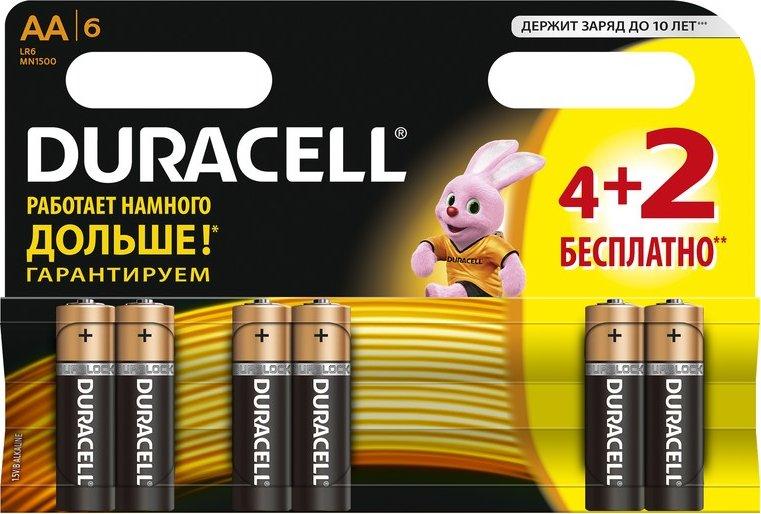 ბატარეა Duracell АА/LR6-6BL BASIC  4+2 ც.